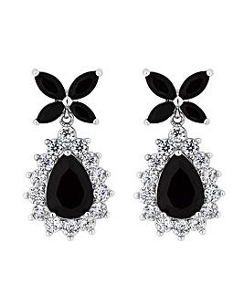 Jon Richard Silver Black Flower Earring