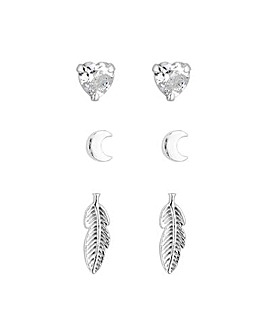 Sterling Silver 925 Leaf Stud Earrings - Pack Of 3