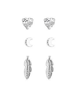 Simply Silver Leaf Stud Earrings 3 Pack