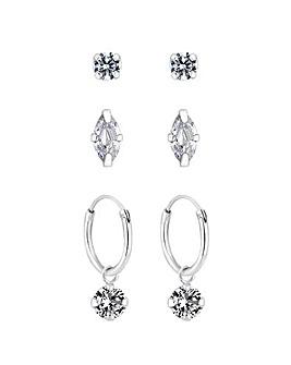 Sterling Silver 925 Cubic Zirconia Marquise Stud & Charmed Hoop 3 Pack Earrings