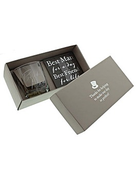Amore Best Man Whiskey Glass & Coaster