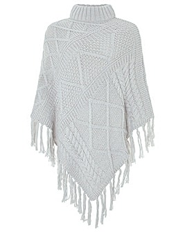 Monsoon Penelope Cable Knit Poncho