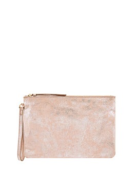 Monsoon Freeda Foil Print Leather Clutch