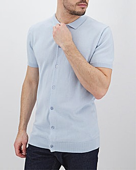 Blue Short Sleeve Polo Jumper Long