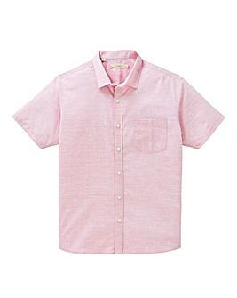 W&B Pink Short Sleeve Slub Check Shirt Regular