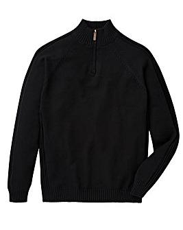 Capsule Black 1/4 Zip Cotton Jumper L
