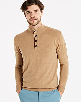 Capsule Mid Brown Button Neck Jumper R