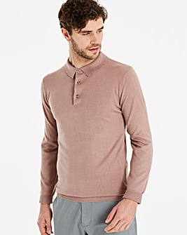 Capsule Pink Long Sleeve Knitted Polo Regular