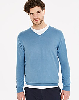 Capsule Mid Blue V-Neck Jumper R