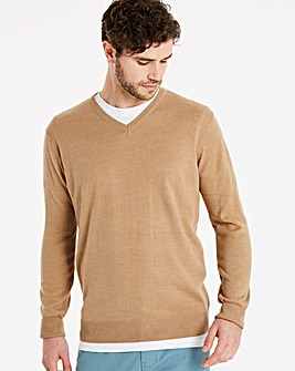 Capsule Mid Brown V-Neck Jumper R