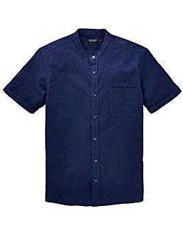 Capsule Navy S/S Grandad Oxford Shirt L