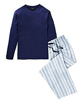 Capsule Navy Check Woven Long Pyjama Set