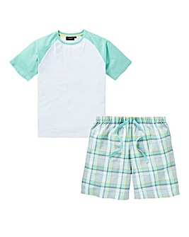 Capsule Mint Raglan Tee Shorts PJ Set