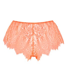 Figleaves Curve Adore Neon Orange Lace French Knickers