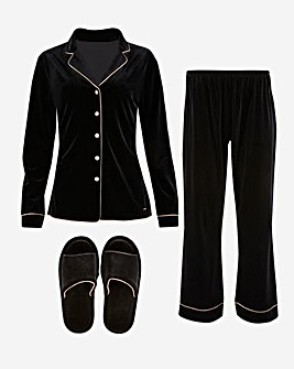Figleaves Curve Black Velvet PJ Set & Slippers