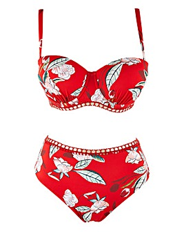 Figleaves Curve Miami Red Floral Underwired Bikini Top