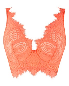 Figleaves Curve Adore Neon Orange Lace High Apex Full Cup Bra