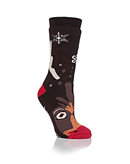 Ladies 1 Pair Heat Holder Rudolph Socks