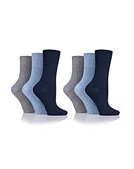 Ladies 6 Pair Gentle Grip Plain Socks