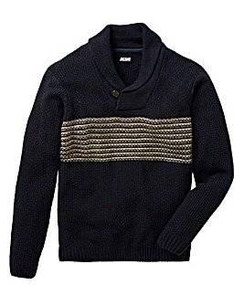 Jacamo Shawl Neck Stripe Jumper Reg
