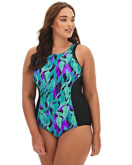 High Neck Printed Sports Swimsuit