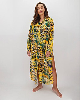 Joanna Hope Leaf Print Maxi Beach Shirt