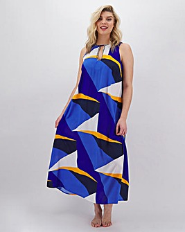 Joanna Hope Geo Print Maxi Beach Dress