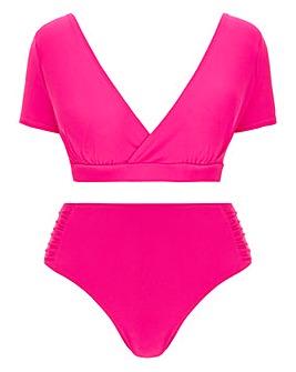 Cap Sleeve Crop Top Bikini Set