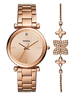 Fossil Rose Gold Watch Gift Set