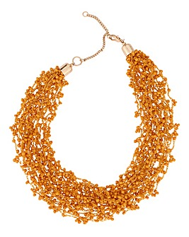 Multi Thread Mustard Collar Necklace