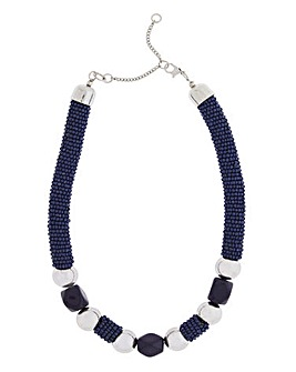 Navy Seedbead Rope Necklace