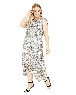 Yumi Curves Leopard Print Handkerchief Hem Dress in White