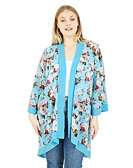 Mela London Curve Floral Printed Kimono in Sky Blue