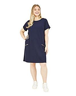 Mela London Curve Zip Pocket Tunic Dress In Navy