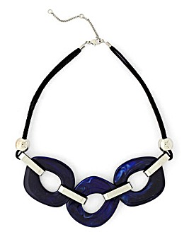 Navy Resin Collar Necklace