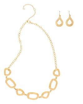 Mixed Shape Textured Gold Collar Set