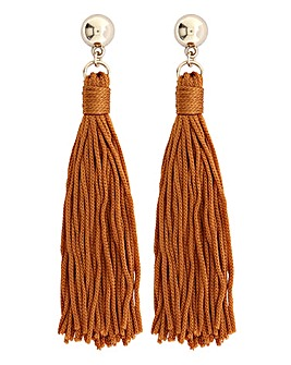 Rust Silk Tassel Earring
