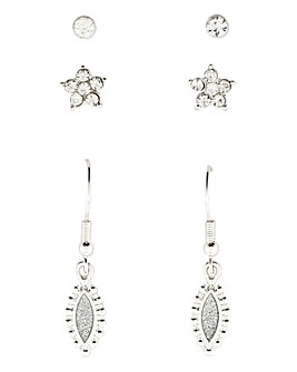 3 Pack Diamante And Stud Earring Set