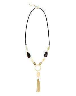 Sage Pebble Lariat Necklace