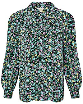 Monsoon NAVY DITSY FLORAL PRINT TOP