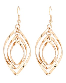 Gold Twirl Drop Earrings