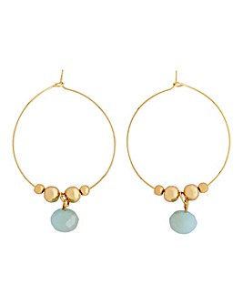 Gold Hoop With Facet Bead Drop Earrings