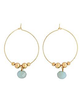 Gold Hoop With Facet Bead Drop Earrings