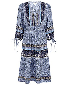 Monsoon NAVY EMBELLISHED PRINT DRESS