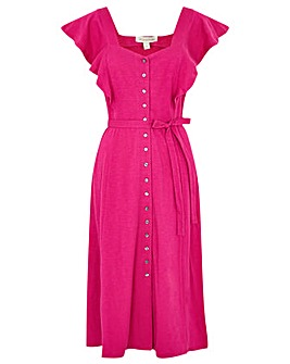 Monsoon Fia Frill Button Jersey Dress