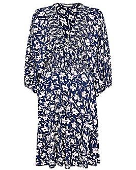 Monsoon Floral Print Shirred Jersey Dress
