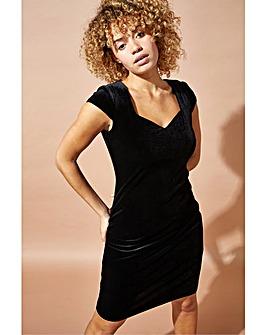 Roman Velvet Sweetheart Neck Shift Dress