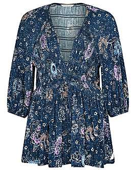 Monsoon Floral Print Shirred Jersey Top