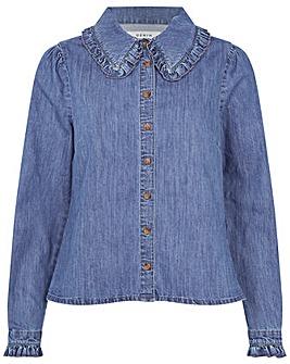 Monsoon Frill Collar Denim Shirt