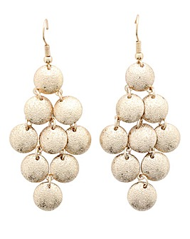 Gold Sandblast Chandelier Earrings